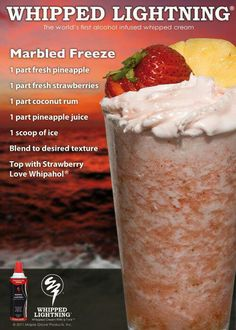 Marbled Freeze with Pineapple & Strawberries Party Drinks, Cocktail Drinks, Fun Drinks, Cocktail Recipes, Alcoholic Drinks, Easy Cocktails, Refreshing Drinks, Summer Drinks, Drinks Alcohol Recipes