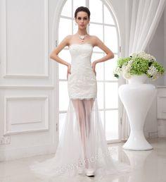 FOX STRAPLESS SWEETHEART SHEATH IVORY LACE WEDDING DRESS