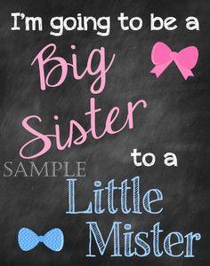 Printable Pregnancy Big Sister Announcement by ChalkingItUpBoards