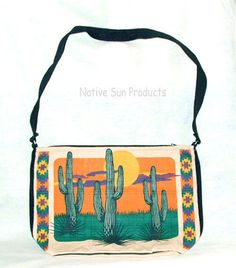 "Purse Handbag Saguaro Cactus Design Cotton Canvas 13x19"" Zips close Southwest Big and bold as the Southwest desert, this Saguaro cactus purse is sure to stand out anywhere you go!  Only 21.95 w/ FREE shipping w/in USA. #purse #handbag #desert #cactus"