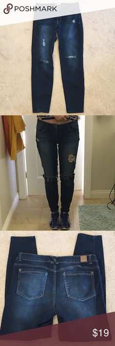 """Jolt Dark Denim """"Drifter"""" Skinny Jean - sz 11 Hands down my favorite pair of jeans EVER.  That's why, after I lost weight, I bought a sz 9, which I'm modeling in 2nd pic. Dark denim w/fading in thighs & butt, features 2 ripped knees along w/a few other smaller frays.  Medium rise of 8""""/29"""" inseam.  Stretch is nice & will be form fitting all day!  If this is your look, I promise you won't regret purchasing this pair! Bought in Nordstrom Juniors' section.  Bundle & save big! No trades…"""