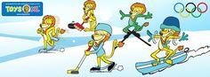 Japie op de Olympische Winterspelen! Hij doet mee aan alle sporten, maar of hij zo blij is op het gladde ijs of de steile helling....