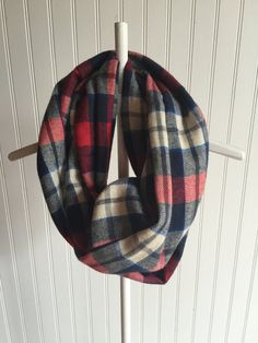 Toddler Navy Blue Red and White Plaid Infinity by DollyandGeorge