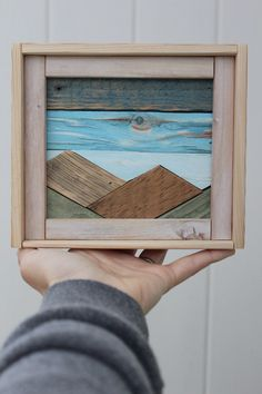 This mountain mini is made with reclaimed wood from cedar fencing, and old plaster lath! This mountain mini is made with reclaimed wood from cedar fencing, and old plaster lath! Arte Pallet, Wood Pallet Art, Reclaimed Wood Wall Art, Reclaimed Wood Projects, Scrap Wood Projects, Wood Turning Projects, Salvaged Wood, Wooden Wall Art, Wood Pallets