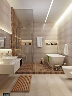 Beautifully simple contemporary bathroom that makes excellent use of lines and shapes to make a statement.