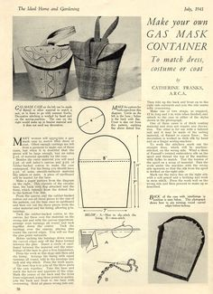 This would make a great knitting or crochet project bag.    Vintage Chic: Gas Mask Carrier  Handbag Patterns