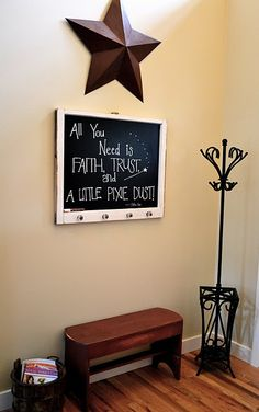 chalkboard window DIY project I think this would be really good in entryway with coat hooks on the bottom. Chalkboard Window, Chalkboard Pictures, Window Art, Window Frames, Window Ideas, Door Crafts, Old Windows, Trendy Home, Diy Arts And Crafts