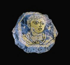 Fragment with Youth, Glass Ancient Romans, Ancient Art, Corning Museum Of Glass, Art Of Glass, Roman Art, Early Christian, Gold Glass, Antique Glass, Mosaic Art