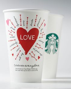Starbucks Valentine's Day Cups.   Cup love : )