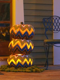 Illuminated #Chevron Pumpkin Topiary | DIY Network