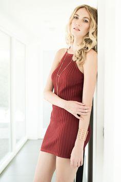 d56018f927426a Avery Ribbed Knit Dress-Red Ribbed Knit Dress