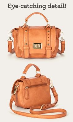Mini messenger bag in cognac with a top handle, removable crossbody strap, metal hardware and turnlock front flap closure