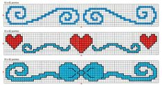 hearts and ribbons border - free cross stitch patterns crochet knitting amigurumi Free Cross Stitch Charts, Cross Stitch Borders, Cross Stitch Baby, Cross Stitch Designs, Cross Stitching, Cross Stitch Embroidery, Cross Stitch Patterns, Bead Loom Designs, Valentine Gift Baskets