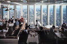 A view from the World Trade Center's 107th floor restaurant.   Photograph by Ezra Stoller.