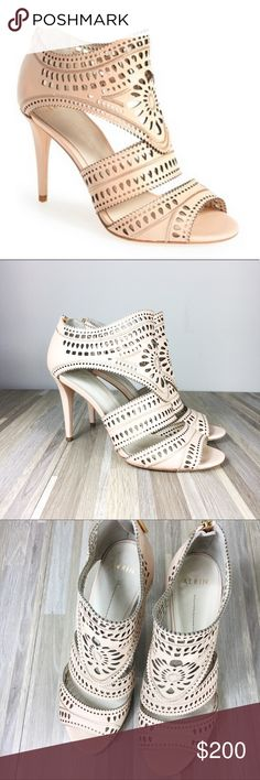 Aerin Lauder Lia Blush Laser Cut Heels EUC Aerin Lia laser cut heels. Romantic light blush color. Approx 4 inch heel. Some very minor wear on back of heels as pictured. Size 9. Aerin Shoes Heels