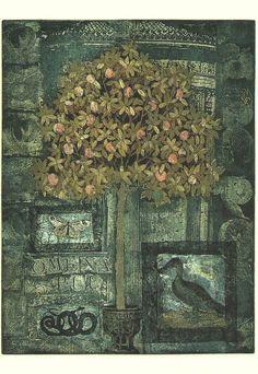 Kirsi Neuvonen. Paratiisiomenapuu, 1996, 65x50 cm, etsaus, akvatinta, kopiosyövytys.
