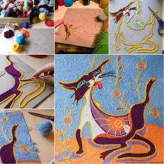 How Amazing and Unique is This Yarn Painting Idea