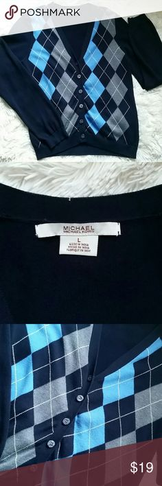 """💕 Michael Kors Argyle  Cardigan Size M MK navy blue argyle cardigan, the tag says L but it fits smaller like Medium  Armpit to armpit measures 18"""", lenght 23"""" Gently used in great condition no flaws Michael Kors Tops"""