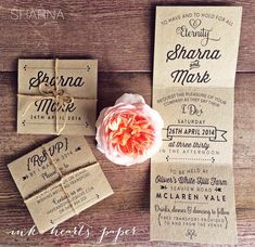 recycled kraft rustic tri fold trifold wedding invitation twine quirky vintage #weddinginvitation