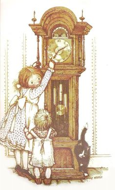 Holly Hobbie Setting the clock Sarah Kay, Holly Hobbie, Toot & Puddle, Artists For Kids, Grandfather Clock, American Greetings, Birthday Pictures, Cute Illustration, Cute Kids