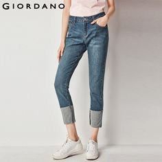 ca10392ed80 Giordano Women Straight Jeans Mid Low Rise Denim Jeans Women Whiskering  Female Denim Pants Printed Jeans
