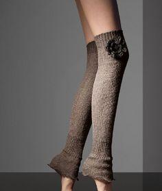 Thigh high leg warmers with flower trim