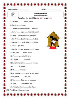 Homophone is and and worksheet - Free FLE teaching files French Language Lessons, French Language Learning, French Lessons, English Lessons, English English, Learning English, French Teacher, Teaching French, French Practice
