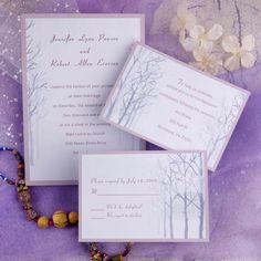 simple romantic winter tree wedding invitations EWI139 as low as $0.94