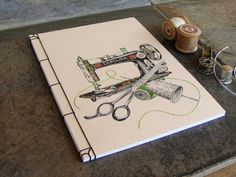 Sewing Machine. Embroidered A5 Notebook. by FabulousCatPapers