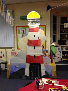 Lighthouse Sunday School Decorations, Class Decoration, School Themes, Class Displays, Classroom Displays, Classroom Themes, Lighthouse Keepers Lunch, Sensory Wall, Holiday Club