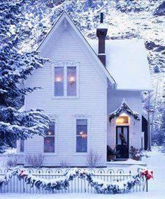 Dear Gail a pretty winter cottage,don't know if you like snow.a Christmas dream cottage. Country Christmas, Winter Christmas, Christmas Home, Merry Christmas, Outdoor Christmas, Winter Snow, Winter White, Xmas, Beautiful Homes