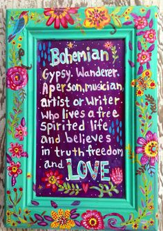Bohemian Sign Wall Art Gypsy Style by evesjulia12 on Etsy