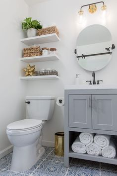Tiny Master Bathroom Renovation 2019 Most bathrooms are short on storage so installing floating shelves above the toilet gives some pretty space to store bathroom musts! The post Tiny Master Bathroom Renovation 2019 appeared first on Bathroom Diy. Diy Bathroom Decor, Bathroom Renos, Bathroom Interior Design, Modern Bathroom, Bathroom Remodeling, Bathroom Vanities, Bathroom Organization, Small Bathroom Renovations, Remodel Bathroom