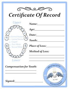 Certificates are a fantastic way of rewarding your childs free tooth fairy certificate pronofoot35fo Choice Image
