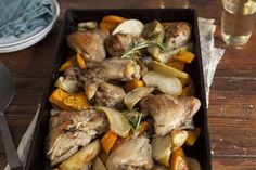 Apple and vegetable roast chicken