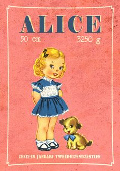 Geboortekaartje Alice - Pimpelpluis - https://www.facebook.com/pages/Pimpelpluis/188675421305550?ref=hl (# retro - meisje - hond - vintage - paper doll - lief - schattig - origineel)