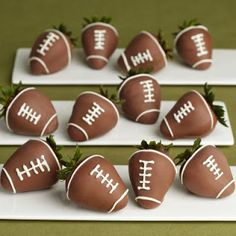 OMG!! Have to try to make these. Football Food: Chocolate covered strawberries  So our 8 year anniversary lands the opening game for football!! And of course we are watching the cowboys game together so I must make him these to celebrate our special night :)
