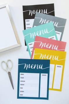 Free Printable Menu board! I love the color options. Just out in a picture frame and go!