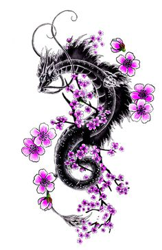 the first one i did was too big and complicated so i made a new one with sakura blossoms which are my favorite t. Dragon And Sakura Branch Small Dragon Tattoos, Dragon Tattoo For Women, Dragon Sleeve Tattoos, Japanese Dragon Tattoos, Dragon Tattoo Designs, Dragon Tattoo On Forearm, Love Tattoos, Body Art Tattoos, Arabic Tattoos