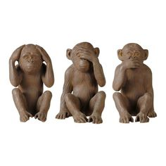 3 resin monkey statues in brown H Gandhi Gandhi, Monkey Statue, Color Borgoña, Statues, Party Characters, Wise Monkeys, My Furniture, Slumber Parties, Home Deco