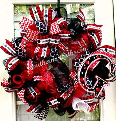 Deco Mesh University of Georgia Door Wreath~ Georgia Bulldogs Front Door Decor~Red Black UGA Bulldogs Wreath - pinned by pin4etsy.com