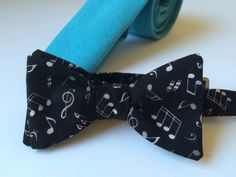 Music notes cotton bow tie for women and men.