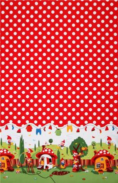 Michael Miller Material | Michael Miller fabric Gnomeville gnomes dots 3