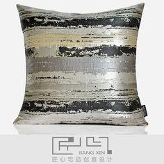 pillow  匠心宅品 现代/北欧样板房/软装靠包抱枕灰黑写意笔触方枕{不含芯