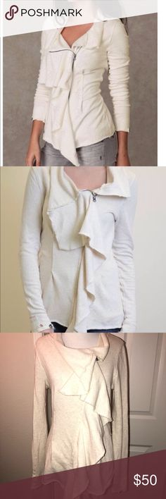 Free people Ebb & flow jacket Excellent condition size small ebb and flow jacket in a cream color. Draped terry jacket. 100% cotton Free People Jackets & Coats