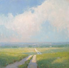 landscape painting by steve allrich - summer road 36x36 inches oil
