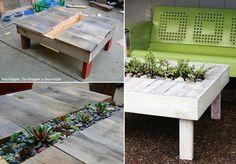Mesa ratona hecha de palet reciclado, centro de mesa con plantas <3
