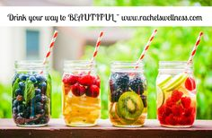 ARE YOU DRINKING ENOUGH WATER TO LOSE WIEGHT? ADD 1/2 CUP BERRIES AND MINT TO A MASON JAR AND LET SIT FOR 6 HOURS IN FRIDGE - THEN CONSUME THIS VITAMIN WATER AND CLEANSE YOUR BODY.  WWW.RACHELSWELLNESS.COM