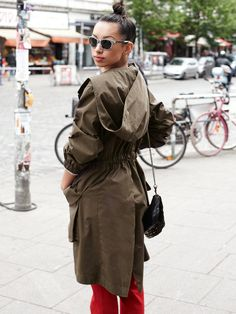 Mod / Military style hooded Parka in Gabardine w/ fine Jersey lining, closes w/ six buttons ~ Burda