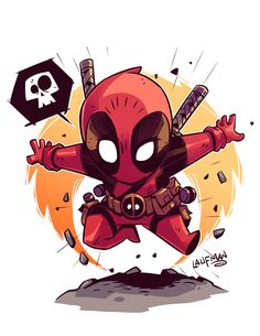 #Deadpool #Fan #Art. (Chibi Deadpool!) By: Derek Laufman. (THE * 5 * STÅR * ÅWARD * OF: * AW YEAH, IT'S MAJOR ÅWESOMENESS!!!™)[THANK U 4 PINNING!!!<·><]<©>ÅÅÅ+(OB4E)    https://s-media-cache-ak0.pinimg.com/564x/43/57/ce/4357ceca1f624dafeb5797eb6f6f05d3.jpg